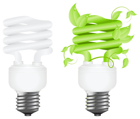 Regular and green floral power saving lamps. Isolated on white background. Vector illustration. Stock Vector - 6559903