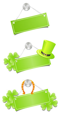 Green placards with tree-leaf clovers, leprechaun hat and lucky golden horseshoe Illustration