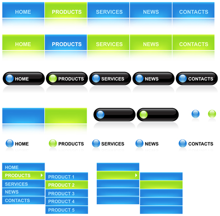 website backgrounds: Vector buttons and icons for web and computing Illustration