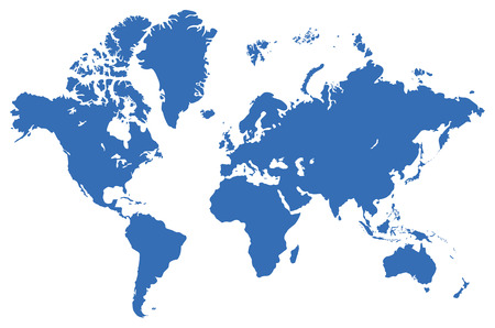 atlantic: Global map, isolated on a white. Vector illustration