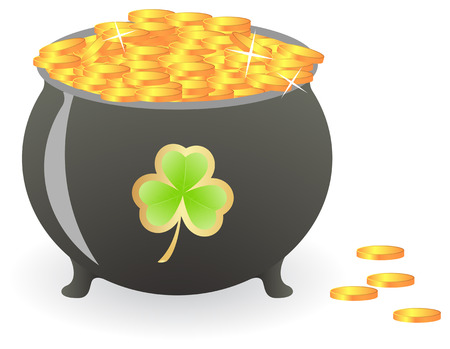 Treasure pan with lucky shamrock pattern.  illustration, isolated on a white Vector