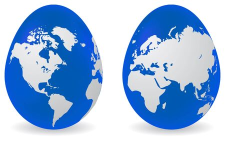Two easter colored eggs with global map pattern.