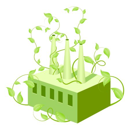 Plants growing from factory symbolize environment conservation. Stock Vector - 6642324