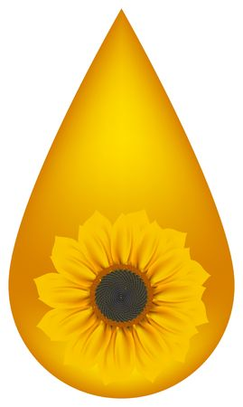 biodiesel: Yellow drop with sunflower blossom.