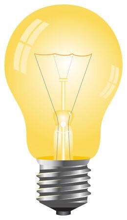 focos de luz: Simple bombilla de color amarillo. Ilustración vectorial, aislado en un blanco.