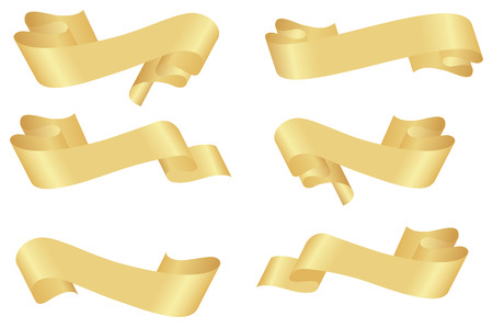 Set of horizontal golden (or yellow) ribbon banners. Vector illustration, isolated on a white.