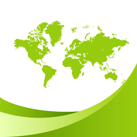 Green world map background. Vector illustration, isolated on a white. Stock Vector - 6684479