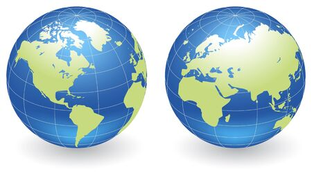Two vector globes of Earth with green lands, isolated on a white. Vector illustration. Stock Vector - 6684494