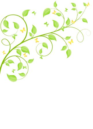 Young sapling with butterflies. Vector background, isolated on a white. Vector