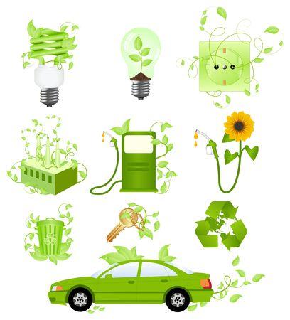 icono contaminacion: Conjunto de s�mbolos y conceptos de la ecolog�a. Aislados en un blanco.  Vectores