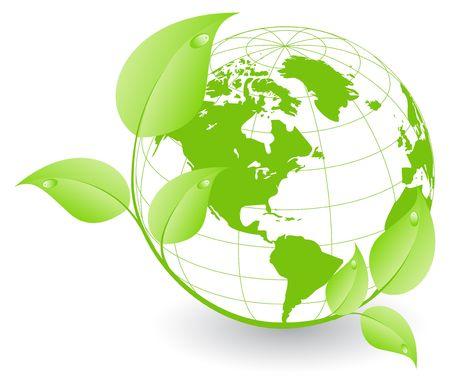 paz mundial: Tierra cubierta por las plantas verdes, el concepto de medio ambiente.  Vectores