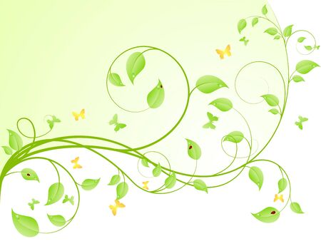 Young sapling with butterflies. Vector