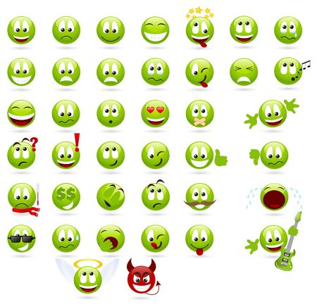 happy emoticon: Large set of cool smiles.