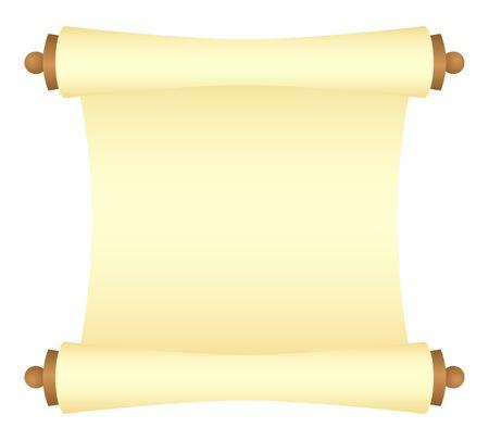 Gele scroll met houten platen, onverpakt uitzicht. Vector Illustratie