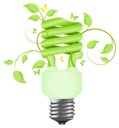 Green floral power saving lamp. Isolated on white background. Vector illustration. illustration