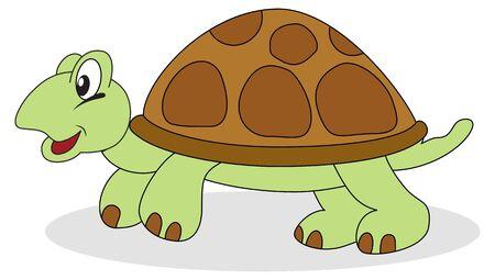 slow: An cartoon overland turtle.