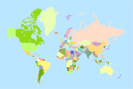 americas: Global world map, each country is the individual isolated object.
