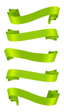 curled: Set of horizontal green ribbon banners.
