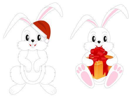 bunny xmas: Two celebratory christmas rabbits.  illustration, isolated on a white.