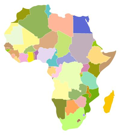 map of Africa, each country is the individual isolated object. Vector
