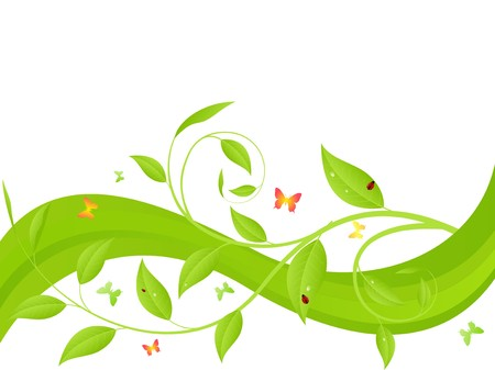 Green wave, young sapling with butterflies and ladybirds Vector