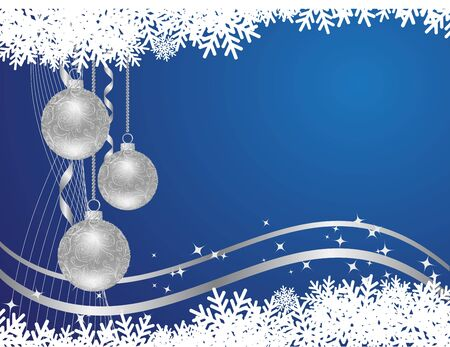 Horizontal background with snowflakes, stars and decorations.