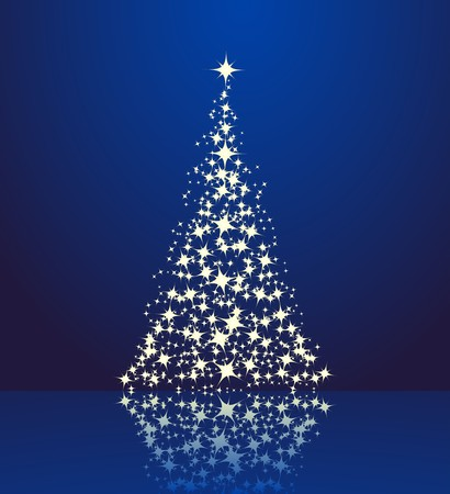 holiday lighting: Christmas background, silhouette of a christmas tree.  Illustration