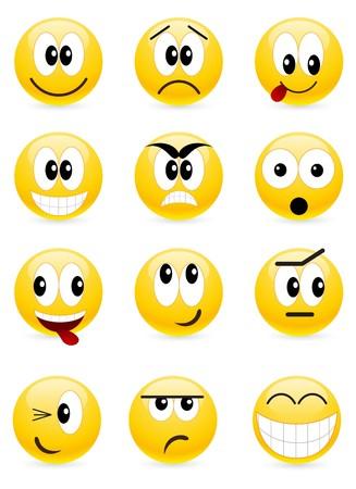 behaviours: Conjunto de emoticones cool. aislados en un blanco.