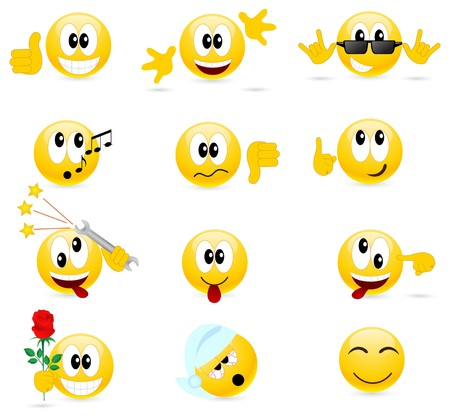 weariness: Set of cool smilies. isolated on a white.  Illustration