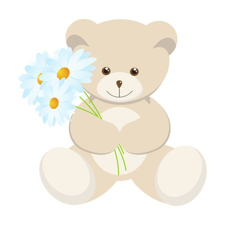 bear cartoon: Toy bear cub with a bouquet of camomiles. Vector illustration.