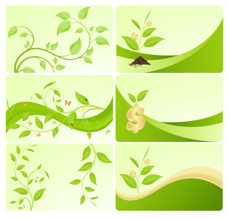 Calling cards with eco-design. Vector illustration, isolated on a white. Vector