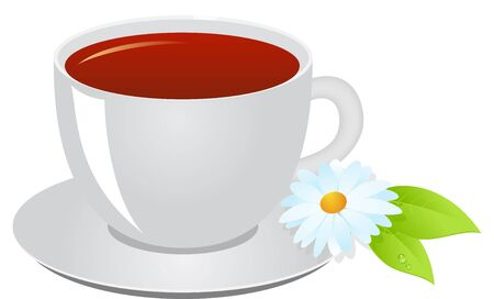 consept: Cup of tea, a leaflet of mint and a camomile flower. Tea consept.