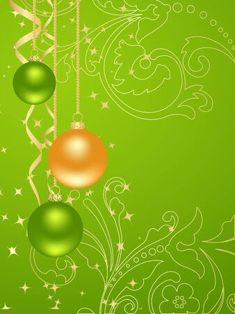 Green background with new year decorations Vector