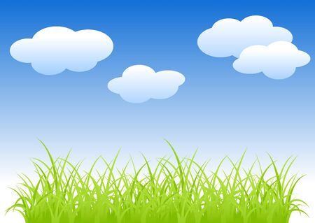 Fragment of a green grass and blue sky Stock Vector - 7911013