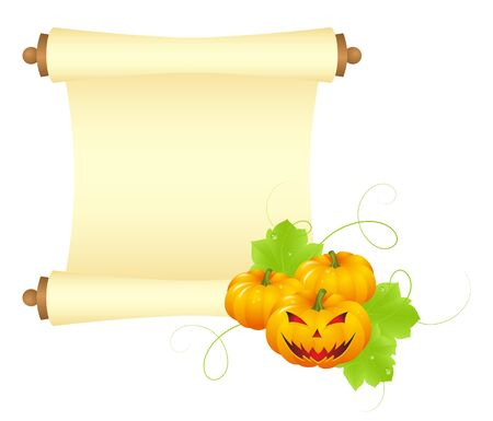 Halloween blank paper scroll Vector