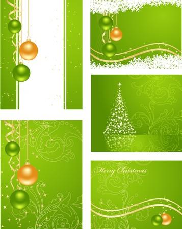 Définir les arrière-plans verts avec des décorations de la nouvelle année Vecteurs