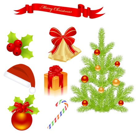 Christmas elements isolated on a white.  illustration. Stock Vector - 8020700