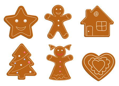 gingerbread cake: Collection of Christmas cookies Illustration