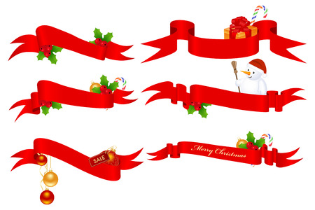 Christmas set of horizontal red ribbon banners Stock Vector - 8117454
