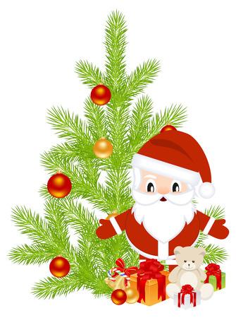 Celebratory set, santa and other symbols of Christmas. Vector illustration. Vector