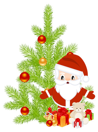 gist: Celebratory set, santa and other symbols of Christmas. Vector illustration.