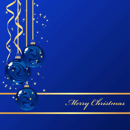 Blue background with christmas decorations Vector