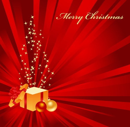 Christmas background with open gift Stock Vector - 8346176