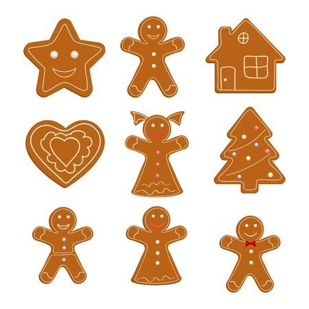 biscuits: Collection of Christmas cookies Illustration