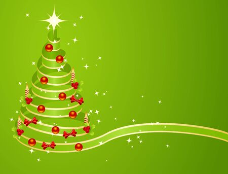 Green christmas tree from ribbon Vector
