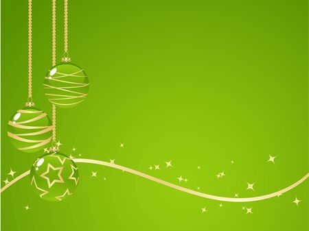 Green background with new year decorations