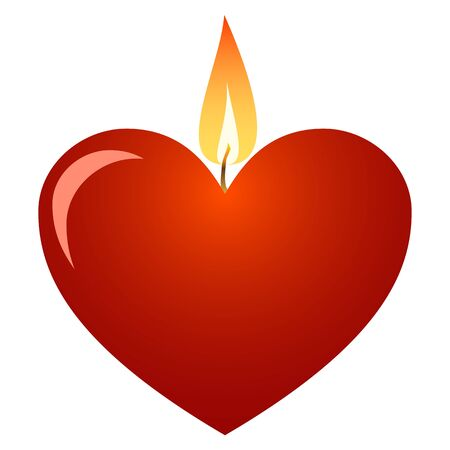 Red heart candle for Valentines Day. Vector illustration.