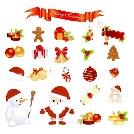 Christmas elements isolated on a white. Vector illustration. Illustration