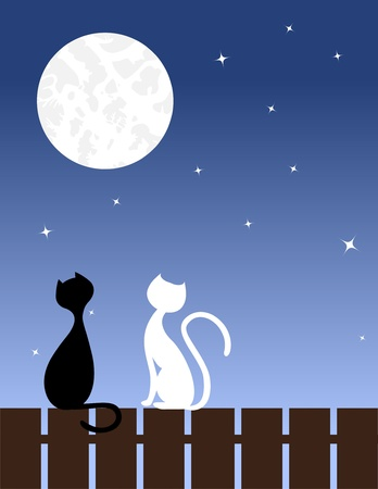 Two enamoured cats sit on a fence. Vector illustration. Vector