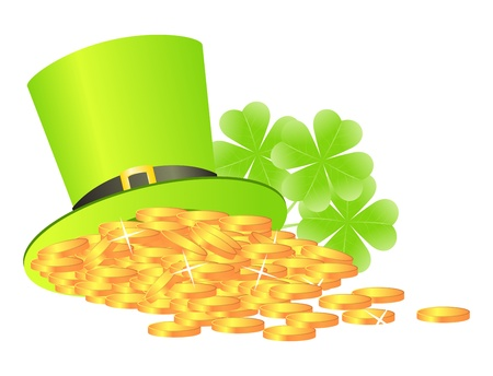 Sainted Patrick's day's symbols leprechaun green hat with golden coins and shamrock Stock Vector - 8592710
